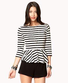 Essential Striped Peplum Top | FOREVER 21 - 2042999204