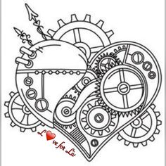 Steampunk Coloring Pages Heart Coloring Book Pages, Coloring Sheets, Simbolos Tattoo, Tattoo Drawings, Embroidery Patterns, Hand Embroidery, Steampunk Accessoires, Steampunk Heart, Bild Tattoos