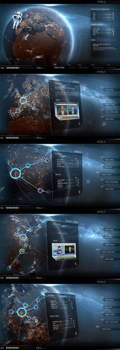 Jedi88's flat interface concept | deviantart | sci-fi | #ui #interface #scifi #space #planet #blue #flat