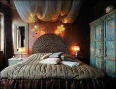 bedroom design ideas bohemian bedroom ideas vintage wardrobe ceiling drapes unique headboard