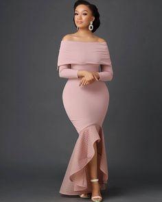 Nine Points Sleeve Floor-Length Asymmetric High Waist Plain Dress African Party Dresses, Latest African Fashion Dresses, African Dresses For Women, African Print Fashion, African Attire, Chic Outfits, Dress Outfits, Fashion Outfits, Ladies Fashion