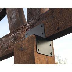 Rustic Metal Brackets For Beams - The Best Picture Of Beam Metal Beam, Faux Wood Beams, Timber Beams, Timber Posts, Wooden Posts, Beam Hangers, Outdoor Pavillion, Cedar Posts, Cedar Pergola