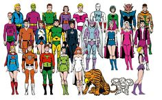Animal Lad, Brainiac 5, Colossal Boy, Duo Damsel, Element Lad, Ferro Lad, Gas Girl, Hate Face, Invisible Kid, Jimmy Olsen, Karate Kid, Light Lass, Matter Eater Lad, Night Girl, Ornitho, Princess Projectra, Quantum Queen, Rond Vidar, Supergirl, Timber Wolf, Ultra Boy, Violet, White Witch, Xanthuan parakat, Ytorp, Zynthia