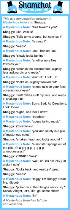 A conversation between Shaggy and A Mysterious Note