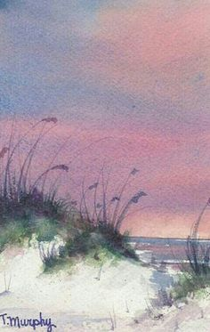 By the Seashore Watercolor Art painting by Tracee Murphy Watercolour Painting, Painting & Drawing, Watercolors, Watercolor Trees, Simple Watercolor, Tattoo Watercolor, Watercolor Animals, Watercolor Background, Abstract Watercolor