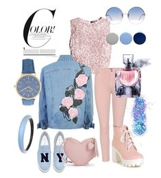 """ELIZABETH SANTOS  PINK & BLUE"" by elisants ❤ liked on Polyvore featuring Citizens of Humanity, Joshua's, Linda Farrow, Burberry, In Your Dreams, Alexis Bittar and Lancôme"