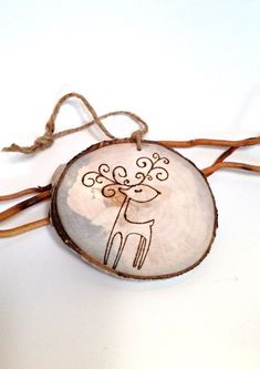 Rustic Ornament Rustic Tree Slice Deer Ornaments Wood by VaniTeaz, $4.75
