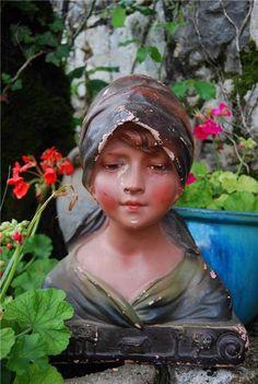 Stunning Antique French PARIS Authentic Art-Deco Chalkware / Plaster Beautiful Female Bust-Brocante