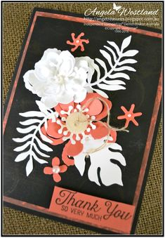 Click on the picture to see more of Angela's Projects. #stampinup #handmadecards #botanicalbuilderframelits #makeownflowers #layeringofflowers #calypsocoral #basicblack #thankyoucard