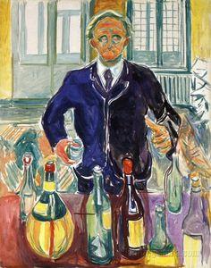 """Self portrait with bottles"". Edvard Munch. 1938."