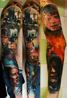 WOAH! Another amazing Star Wars tattoo! The colors! #starwars