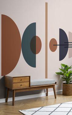 Geometric Wall Paint, Geometric Wallpaper Murals, Wallpaper Accent Walls, Midcentury Wallpaper, Mid Century Modern Wallpaper, Mid Century Wall Art, Mid Century Modern Living Room, Mid Century Modern Colors, Mid Century Bedroom