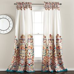 Paisley Blackout Rod Pocket Curtain Panel in Turquoise & Tangerine (Set of 2)