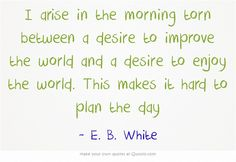 I arise in the morning torn between a desire to improve the world and a desire to enjoy the world. This makes it hard to plan the day