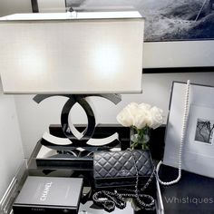 Description Features Table lamp with dimmer Off white lampshade CoCo collection Product Details Product Type: Bedside ,Table Base Material: Metal Number of Lights: only one in stock Chanel lamp Chanel Lamp, Chanel Decor, My New Room, My Room, Chanel Bedroom, Awesome Bedrooms, Home Decor Accessories, Bedroom Decor, Decorating Bedrooms