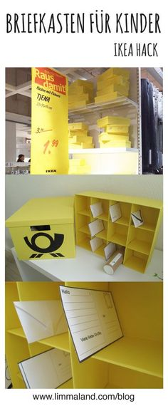 IKEA Hack with yellow Tjena Box / DIY Mail Box / post office for kids / children ; Briefkasten / Postkasten / Postamt für Kinder selber bauen / Kinderpost www.limmaland.com