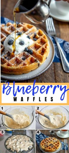 Easy Blueberry Waffles from Scratch A delicious breakfast, bursting with juicy blueberries – these easy Blueberry Waffles will delight the whole family! They're light, fluffy and golden brown! Dig in! Easy Brunch Recipes, Delicious Breakfast Recipes, Waffle Recipes, Yummy Food, Freezer Recipes, Freezer Cooking, Cooking Tips, Blueberry Waffles, Blueberry Breakfast