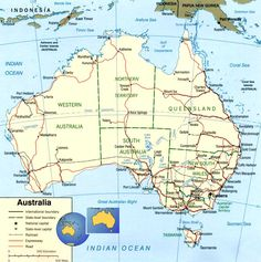 This is a map of Australia showing all major towns and cities