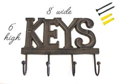 Amazon.com: Cast Iron Key Hanger / Wall Hook / Decor - Hand Crafted, Recycled, Home Organization Gift Idea: Office Products