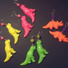 Neon painted polymer clay dinosaur earrings jewelry by www.facebook.com/glowMonster