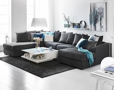 Mega 3 seater sofa with divan and chaise longue Fabric West gray / light gray, legs in wengébets