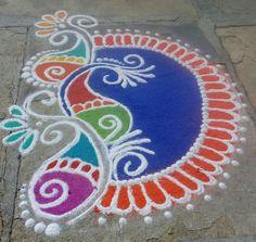 Easy Rangoli Designs Diwali, Rangoli Designs Flower, Rangoli Border Designs, Colorful Rangoli Designs, Diwali Rangoli, Rangoli Designs Images, Simple Rangoli, Mehandi Designs, Festival Rangoli