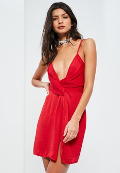 Missguided - Red Silky Strappy Knot Front Shift Dress