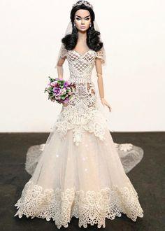 1..2/sammurakammi Barbie Bridal, Barbie Wedding Dress, Wedding Doll, Barbie Dress, Barbie Clothes, Wedding Dresses, Fashion Royalty Dolls, Fashion Dolls, Diy Dress