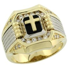 10k Gold Gent's Diamond Square Cross…