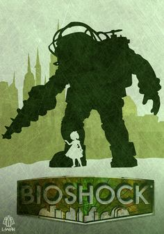 Buy Bioshock Big Daddy And Little Sister Art Video Game Artwork Minimal Art Poster at online store Bioshock Game, Bioshock Series, Coffee Draw, Bioshock Artwork, Bioshock Tattoo, Illustration Art Nouveau, Video Vintage, Nerd, Video Game Art