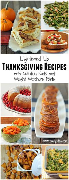 This roundup of Lightened Up Thanksgiving Recipes has everything you need for a happy, healthy holiday meal - including nutrition facts and Weight Watchers points for every recipe! www.emilybites.com