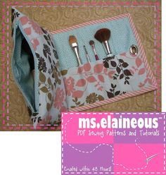 Cosmetic Bag with Brush Roll PDF Pattern by mselaineousny on Etsy, $5.00