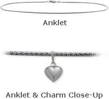 10K White Gold 9 Snake Style Anklet with 9mm Heart Charm *** Click image for more details.(This is an Amazon affiliate link and I receive a commission for the sales)
