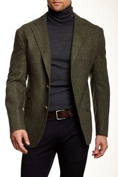 Gemelli Green Herringbone Two Button Notch Lapel Wool Jacket