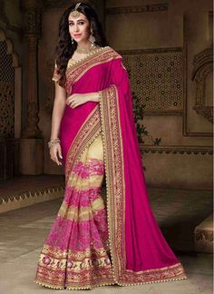 Voluptuous Karishma Kapoor Cream and Hot Pink Party Designer Reception wear Saree