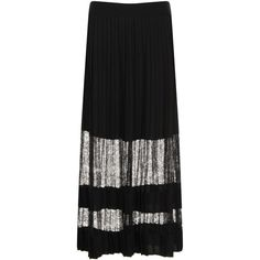 Elvi Black Lace Maxi Pleated Skirt (1.911.090 VND) ❤ liked on Polyvore featuring skirts, black, women, panel skirt, long gothic skirts, long lace skirt, long pleated maxi skirt and ankle length skirt