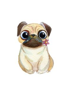 new Ideas dogs drawing pug Animal Drawings, Cute Drawings, Dog Drawings, Tatoo Dog, Pug Illustration, Baby Animals, Cute Animals, Pug Cartoon, Pug Art