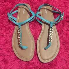 Teal with gold chain sandals! Teal sandals with gold chain. Brand new without tags! Bought them last year and never wore them. Merona Shoes Sandals