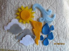 Felt Weather Shapes---DIY Kits for Weather Study-Weather Elements-Sun-Wind-Clouds-Lightning-Rain-Kids Crafts-Weather Kit