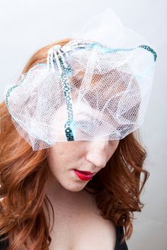 Rockabilly Pinup Skeleton Hand Veil Fasinator with by dangerdelux, $15.00
