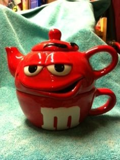 M M's Ceramic Christmas Tea Pot Red | eBay