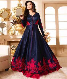 Drashti Dhami Navy Blue Silk Long Anarkali Suit 74222