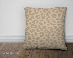 Tan and cream Leopard Print Pillow Cover from As by MotifMotifShop, $57.99 #throwpillow #homedecor #animalprint