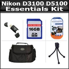 Essentials Accessory Bundle Kit For Nikon D3100 D5100 Digital SLR Camera Includes 16GB High Speed SD Memory Card + Deluxe Carrying Case + High Spped 2.0 USB SD Card Reader + LCD Screen Protectors + Mini Flexible Tripod by ButterflyPhoto. $49.95. Product DescriptionKit Includes:♦ 1) Digital Film - 16GB (SDHC) High-Speed 150x Class 6 Memory Card♦ 2) Zeikos - Zeikos Deluxe Cammcorder Carrying Case CA48B♦ 3) Zeikos - Zeikos USB Reader Secure Digital 2.0♦ 4...
