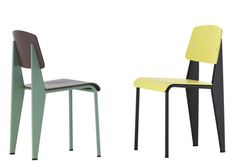 Standard Chair by Jean Prouve in new colours by hella Jongerius for Vitra at Salone