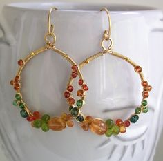 Gemstone Encrusted Hoops Wire Wrapped Gold Filled Earrings