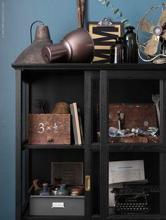 MALSJÖ vitrin i massivt trä och svartlaserad askfanér är perfekt för ateljén eller för att samla dina favoriter på stilig display.