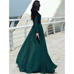 Vestido Longo 2015 ocasional elegante do Vintage senhora botão Longo Cocktail Party Maxi camisa Vestido Kaftan Abaya Vestido verde túnicas em Vestidos de Roupas e Acessórios no AliExpress.com | Alibaba Group