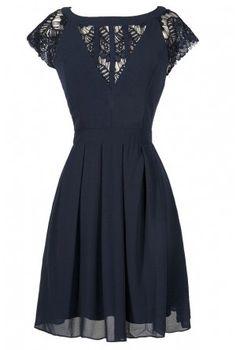 Navy Lace A-Line Dress//