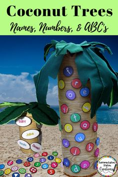 Great Chicka Chicka Boom Boom activities and crafts. Check out the DIY magnetic coconut tree!